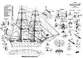 Brig Mercury ship model plans