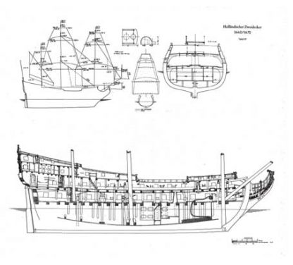 Hollandischer Zweidecker ship model plans