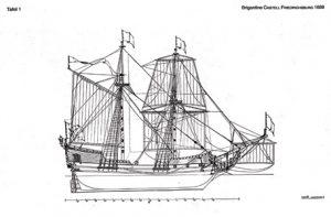 Brigantine Castle Friedrichsburg 1688 ship model plans