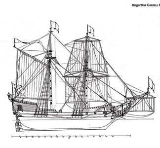 Brigantine Castle Friedrichsburg 1688 ship model plans