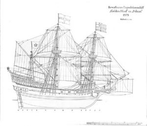 Sir Francis Drake's galleon Golden Hind ship model plans