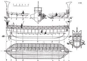 Phoenician battleship 10-8 BC ship model plans