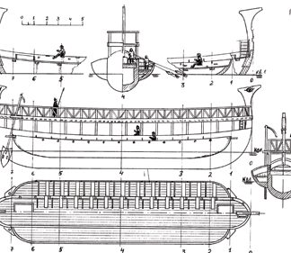 Phoenician battleship 10-8 BC ship model plans