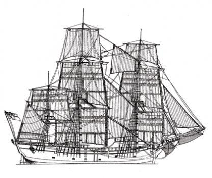 HM Bark Endeavour ship model plans