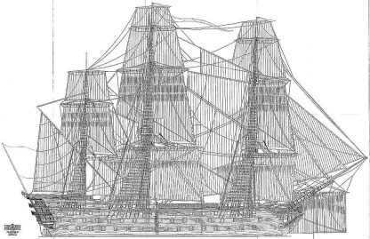 1st Rate Ship Commerce Du Marseilles 1788 ship model plans