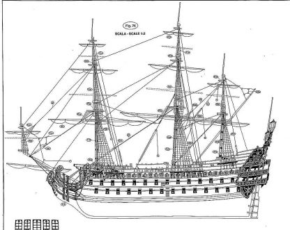1st Rate Ship Le Soleil Royal 1669 ship model plans