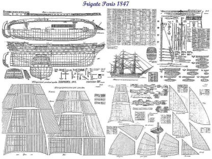 1st Rate Ship Paris 1849 ship model plans