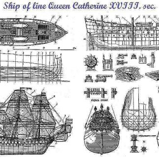 1st Rate Ship Queen Ekaterina 1664 ship model plans