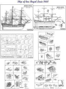 1st Rate Ship Royal Louis 1780 ship model plans