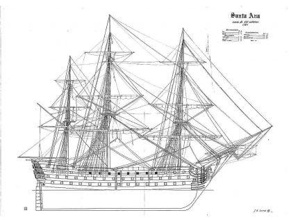 1st Rate Ship Santa Ana 1784 ship model plans