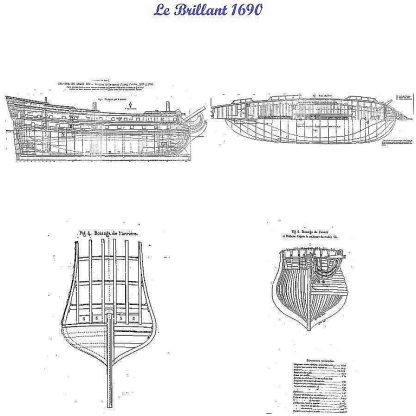 2nd Rate Ship Brillant 1690 ship model plans