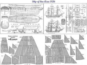 3rd Rate Ship Azov 1826 ship model plans
