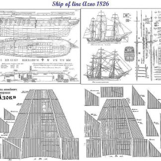 3rd Rate Ship Azov 1826 ship model plans