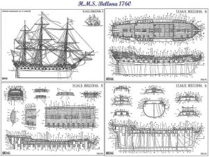 3rd Rate Ship HMS Bellona 1760 ship model plans