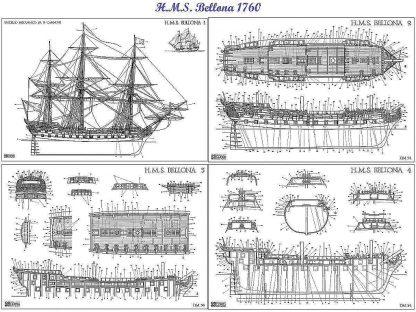 3rd Rate Ship HMS Bellona 1760 ship model plans