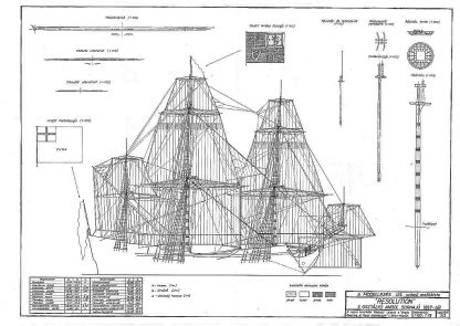 3rd Rate Ship HMS Resolution 1667 ship model plans