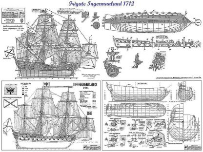 3rd Rate Ship Ingermanland 1715 ship model plans
