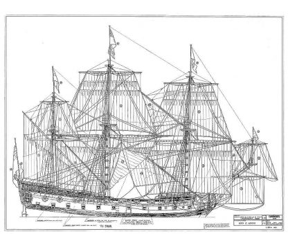 4th Rate Ship HMS Mordaunt 1681 ship model plans