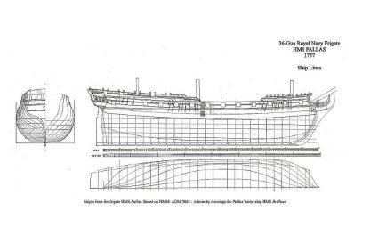 5th Rate Ship Frigate HMS Pallas 1804 ship model plans
