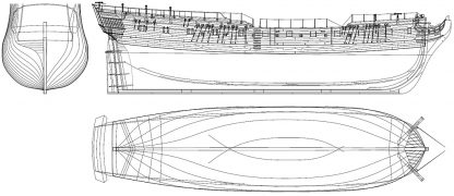 6th Rate Frigate HMS Pandora 1779 ship model plans