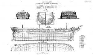 6th Rate Frigate HMS Vindictive ship model plans
