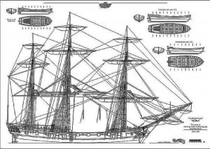 6th Rate Ship Frigate HMS Sphinx 1748 ship model plans