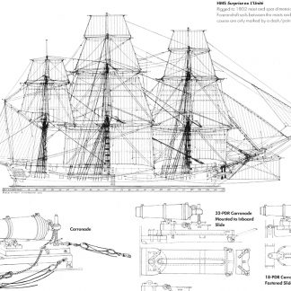 6th Rate Ship Frigate HMS Surprise ship model plans