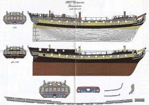 6th Rate Ship HMS Enterprize 1705 ship model plans