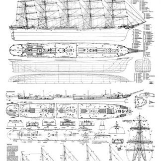 Barque Clipper Preussen 1902 ship model plans