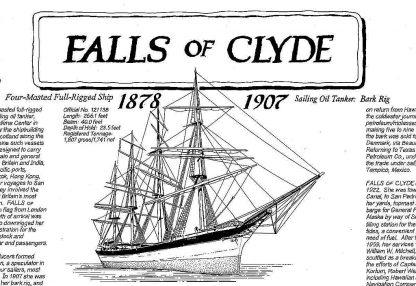 Barque Falls Of Clyde 1878 ship model plans
