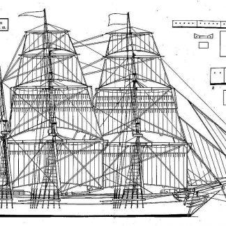 Barque XIXc ship model plans