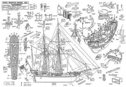 Bomb Ketch Racehorse 1757 ship model plans