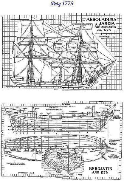 Brig 1775 ship model plans