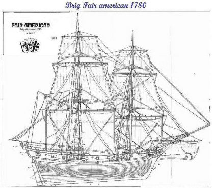 Brig Fair American 1780 ship model plans