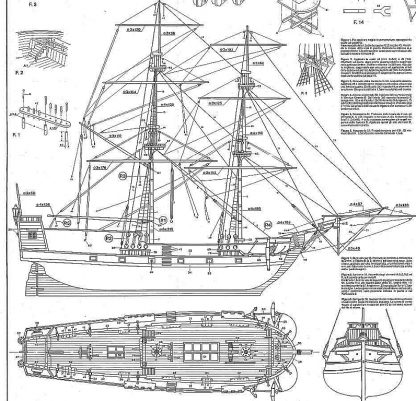 Brig Golden Star XVIIc ship model plans