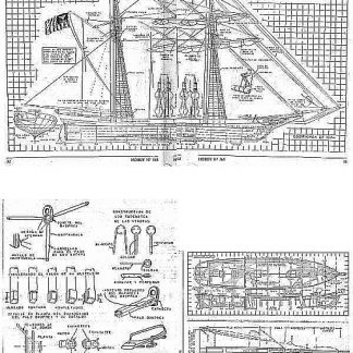 Brig Goleta 1850 ship model plans