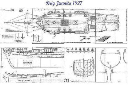 Brig Junaita 1827 ship model plans