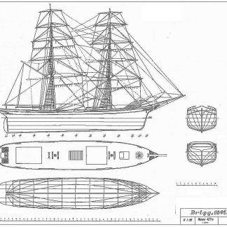 Brig London 1895 ship model plans