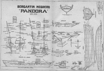 Brig (Slaver) Pandora 1835 ship model plans
