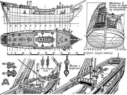 Brig Sv Petr And Sv Pavel 1740 ship model plans