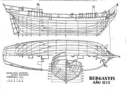 Brigantine 1775 ship model plans