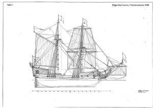 Brigantine Castell Friedrichsburg 1688 ship model plans