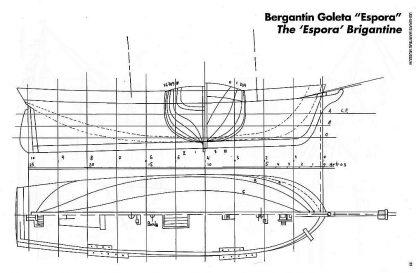 Brigantine Espora 1865 ship model plans