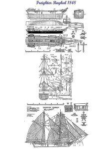 Brigantine Freighter Baikal 1848 ship model plans