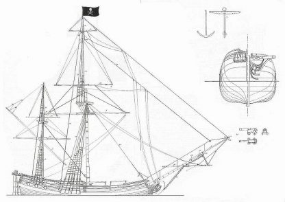 Brigantine Pirate ship model plans