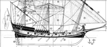 Caravel Polacre (Spanish) 1692 ship model plans