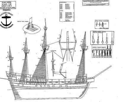 Carrack Mary Rose 1510 ship model plans