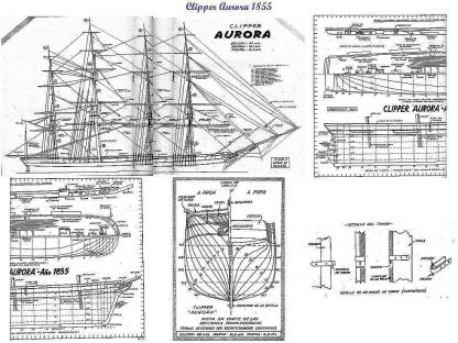 Clipper Aurora 1855 ship model plans
