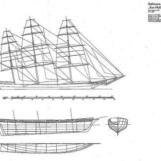 Clipper-Schooner Ann Mckim 1833 - Baltimore ship model plans