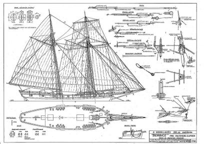 Clipper Schooner Berbice 1780 Baltimore ship model plans